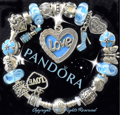 "Authentic Pandora Bracelet Silver with ""LOVE STORY""  Blue with European Charms"