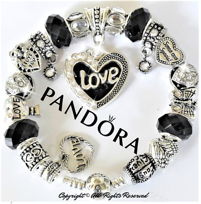 "Authentic Pandora Bracelet Silver with ""LOVE STORY"" Black with European Charms"
