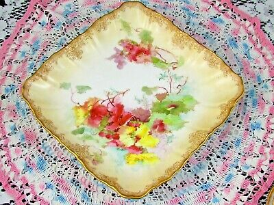 Doulton Burslem Blushware Painted Pink Floral 4 Footed Square Bowl