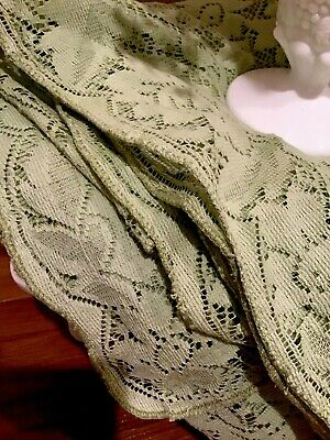 Vintage Cotton Lace Rectangle Tablecloth Soft Green