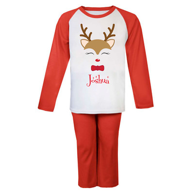 Personalised Name Boy Reindeer Christmas Pyjamas Boys Xmas Pjs