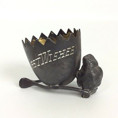 Best Wishes Silver Plate Egg Cup Wishbone Chick Toothpick Holder Antique 1900s