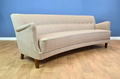 Mid Century Retro Danish Grey Wool 3 Seat Banana Sofa 1950s - Newly Upholstered
