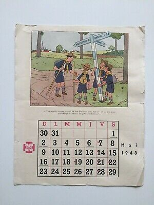 Hergé Illustration Calendrier Scout Mai 1948 - Tintin
