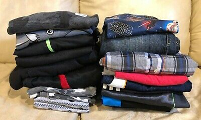 Huge 21PC Boys Clothes Lot Size 10/12 M/L Athletic pants l/s shirts tees shorts