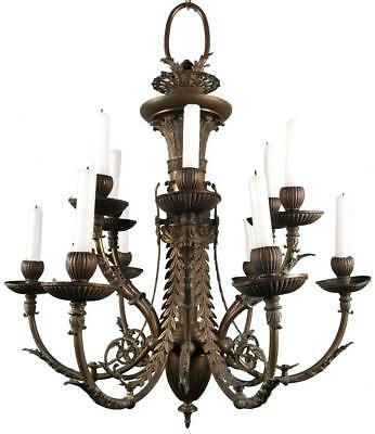 Antique French Louis XVI Empire Neoclassical Bronze Brass 12-Light Chandelier
