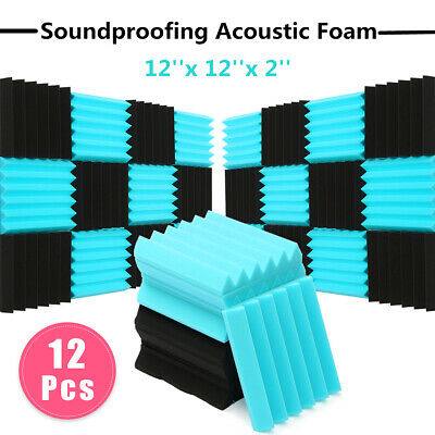 12Pcs Acoustic Foam Wedge Tiles Sound Studio Proofing Treatment Panel  ! Z