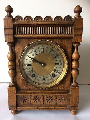 Antique bracket clock, winterhalder and hofmeier, oak cased. Working Order. Vgc.
