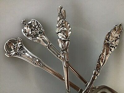 4 SPOON SET Holly Mistletoe 77g Sterling Silver CHRISTMAS Watson Wallace NO MONO