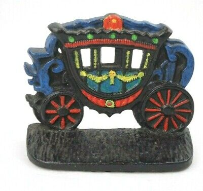 Vintage Children's Painted Stagecoach Cast Iron Door Stop 4 1/4 Inches Tall