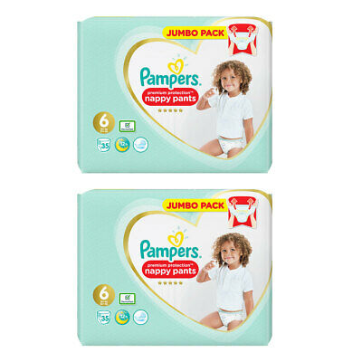 Pampers Premium Protection Nappies Size 6, 2 x 35 Jumbo Packs
