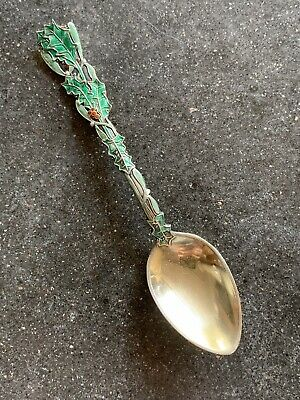 Gorham Holly Mistletoe Christmas #87 spoon Sterling Silver Green Enamel NO MONO