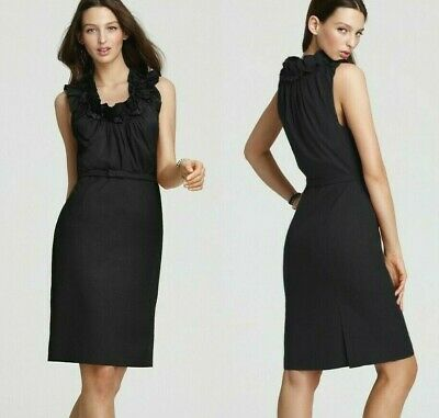$348 Elie Tahari Roxanna Black LBD Poplin Belted Ruffle Collar Dress 14