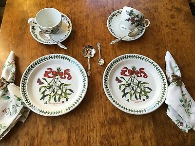 PORTMEIRION BOTANIC GARDEN 6 PC CHRISTMAS TEA Set Holly Mistletoe DISHES PLATES