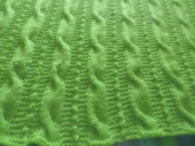Bright Green Hand Knit Acrylic Afghan, Cable and Bobble pattern