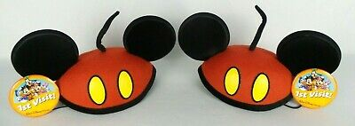 Disney Mickey Mouse Pants Pattern Ears Hat Red Cap Youth Size Lot of 2 + Buttons