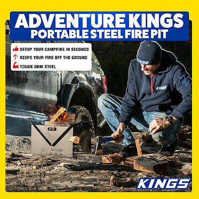 Kings Portable Steel Fire Pit  Easy Setup Use Anywhere