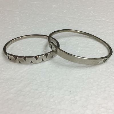 Lot of 2 Bangle Hinged Clasp Bracelets 925 Sterling Silver 32.9g Two Sizes