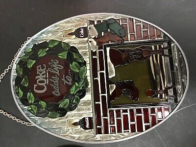 Vintage 2 Coca-Cola Stained Glass Suncatchers Hand Painted Glass Christmas Coke