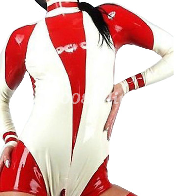 Hot Sale Latex Swimsuit Rubber Red White Gummi Kostüm Ganzanzug Bodysuit S-XXL