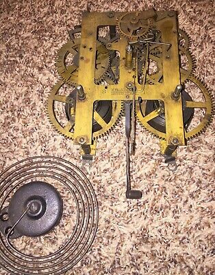 ANTIQUE INGRAHAM Kitchen Or Mantle Clock Movement With Gong