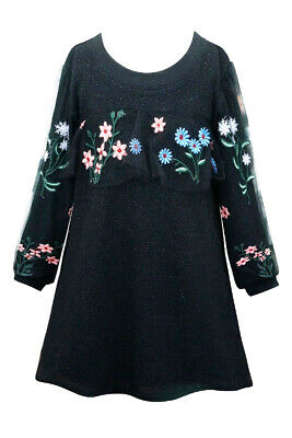 NEW Boutique Hannah Banana Long Sleeves Black Embroidered Girls Dress 6 6x 7