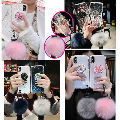 For iphone 11/pro/pro max 3d Bling diamond Stand Hairball Strap soft Clear Case