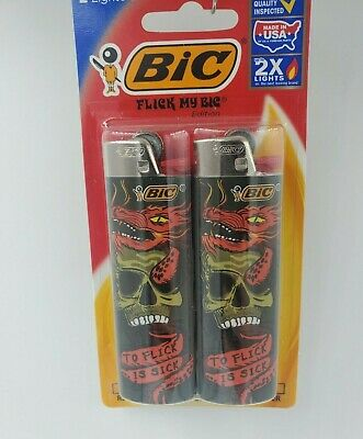 2 Pack Bic Lighters Special Edition Flick My Bic, Gift, Dragons, Sick, Skull