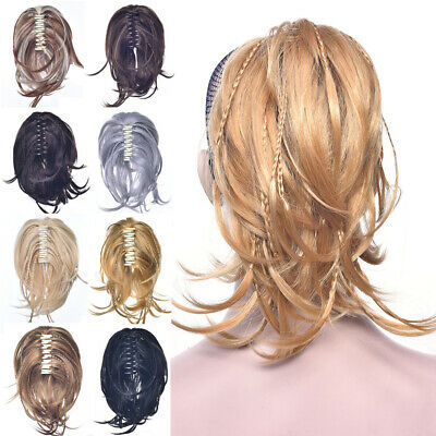Elegant Women Pigtail Claw Clip Curly Horsetail Extension Synthetic Hairpieces