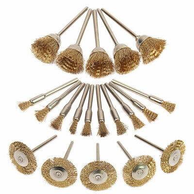 20Pcs/Set Brass Stainless Wire Brushes Wheel Cup Polishing Set for Rotary Tools