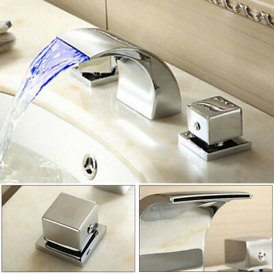 Widespread LED Bathroom Waterfall Basin Faucet Tub Sink 3 Hole Chrome Mixer Tap