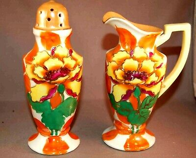 MAGNIFICENT Art Deco Luster Ware Shaker & Creamer Berry Set!  Made IN Japan!