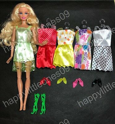 5x Barbie Doll Party Evening Dress/Clothes/Outfit and 5 pairs of Doll Shoes ~New