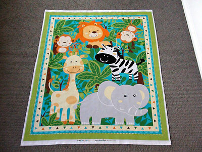 Jungle Animal Fabric Panel Safari Zoo Elephant Baby Quilt Cot Quilting Panel