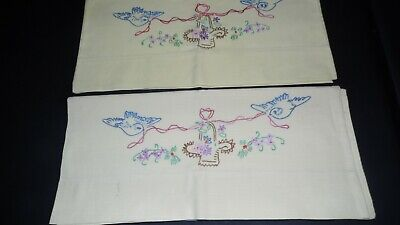 Vintage Pillowcase Set Yellow With Embroidered Birds Floral Bouquet Design