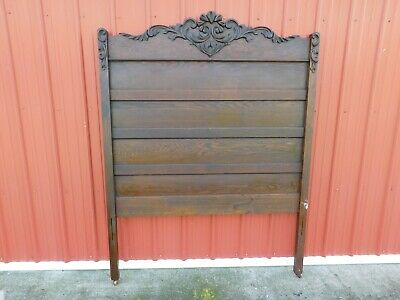 Antique Full-Size Panel Bed With Headboard Sculpture