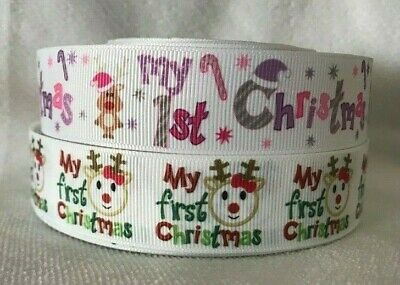 """My First Christmas Ribbon Designs each Sold by 2m 1""""  wide -Craft"""