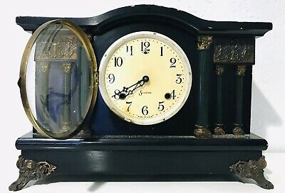 Great Antique Complete Running SESSIONS Large 6 Column MANTLE CLOCK