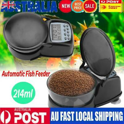 Automatic Fish Feeder Pond Holiday Timer Digital Timer Auto Dispense Feed 214ml