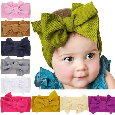 Big Bow Headband For Girls Solid Large Hair Bows Elastic Turban Head Wraps