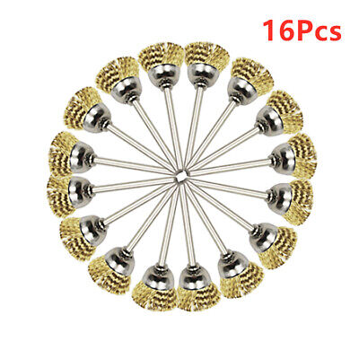16Pcs 3mm Shank Polishing Brass Wire Wheel Cup Brushes For Rotary Cleaning Tool