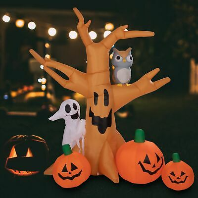 8 ft Halloween Inflatable Ghostly Tree with Owl and Pumpkins Decoration Outdoor