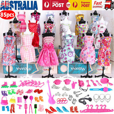 85PCS for Doll Dresses Shoes Jewellery Clothes Set Accessories Kids Gifts Toy AU