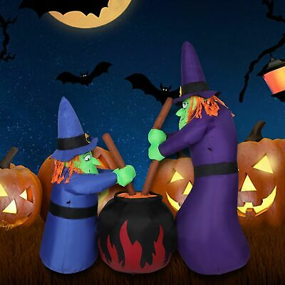 6FT Halloween Inflatables Blow Up Funny Witches Brewing Cauldron Yard Decor