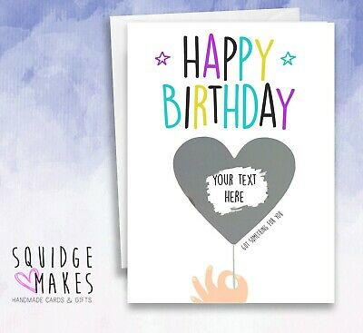 Personalised Birthday Scratchcard heart balloon* Gift Surprise Reveal* Holiday