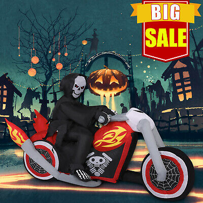 6FT Halloween Inflatable Skeletons Ghost Reaper Motorcycle Bike Lighted Decor
