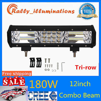 12inch 180W Tri Row Led Work Light Bar 7D+ Truck Car Off road SUV UTE Tractor