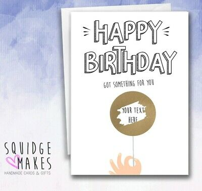 Personalised Birthday Scratchcard round balloon* Gift Surprise Reveal* Holiday