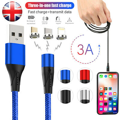 360° Magnetic LED Fast Charging Charger Cable Lightning/Micro/Type C to USB Cord