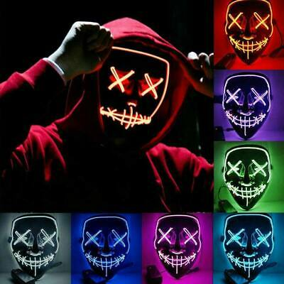 Halloween Scary LED Light up Face Masks Cosplay Props for Men Women 10 Colors UK